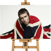 Oasis Liam Gallagher British Flag Union Jack Canvas Print Wall Art