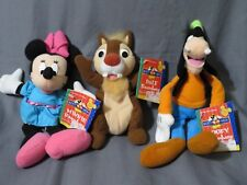 New Vintage Lot 3 Disney Fisher Price Beanbags Minnie Mouse~Goofy~Chipmunk Dale