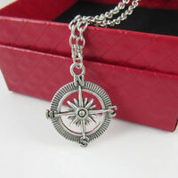 Compass Rose Necklace Ship Wheel Nautical Charm Travel Geocacher Jewelry Silver