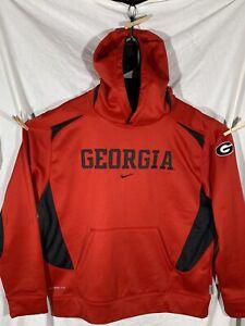 Nike Center Swoosh Georgia Bulldogs Embroidered Sweatshirt Hoodie Red Large