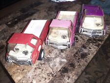 "3 Vintage Tonka Red,Pink,Purple, Trucks Toy Pickup 1970's Pressed Steel 8 1/2"""