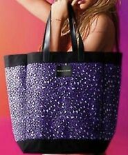VICTORIA'S SECRET PURPLE LEOPARD CHEETAH PRINT CANVAS TOTE BEACH BAG PURSE LARGE