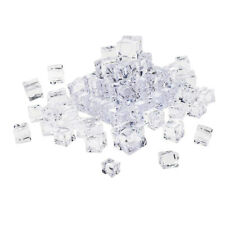 50pcs Multifunction Fake Clear Acrylic Ice Cubes Square Shape Decor Props 20mm