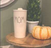 Rae Dunn Ceramic LL MOM Travel/To Go Tumbler with Lid NIP