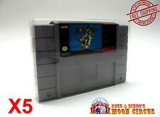 5x SUPER NINTENDO SNES CARTRIDGE - CLEAR PROTECTIVE GAME BOX SLEEVE CASE