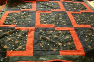 Owl and Gold Metallic Star Halloween Handmade Quilt Black Polka Dot Fleece