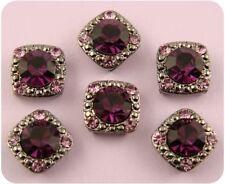 2 Hole Beads Crystal Gala 8mm Amethyst Swarovski Crystal Elements ~Sliders QTY 6
