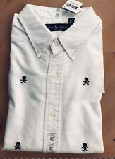Ralph Lauren Mens White Skull Embroidered Button Down Long Sleeve Shirt NWT 2XLT