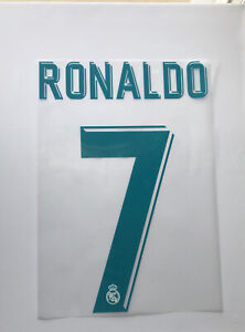 Ronaldo # 7 Real Madrid Official UCL HOME 2017/18 Name & Number Transfer
