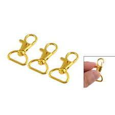 3 Pcs Gold Tone Metal Lobster Claw Clasp Swivel Hook Key Holder LW