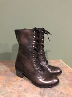 GIANNI BINI WOMEN'S BROWN LEATHER LACE UP HEELED COMBAT BOOTS SIZE 9.5M