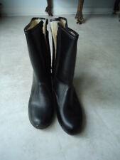 Black Winter Boots Fleece Lined Zip Side Size 7 Waterproof Mid Calf