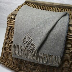 Light Blue Basket Weave 100% Wool British Made Tweed Fabric Blanket Throw