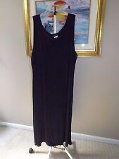 CITIKNITS Navy Blue Sleeveless Slinky Stretch Long Maxi Travel Knit Dress Sz 3X