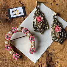 Vintage Signed ART Pink Enamel Seed Pearl Flower Horseshoe Brooch & Earrings