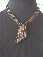 Costume Necklace The Artesian Collection Fire Blown Glass Shape Seed Beads