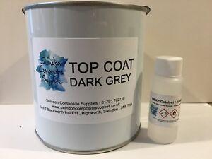 Fibreglass Resin Topcoat 1KG  DARK GREY Top Coat Resin Flo Coat Flocoat Roof