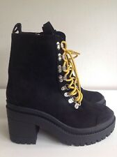 Ego 'Maura' Black Faux Suede Ankle Biker Boots Yellow Laces Size 6 Chunky