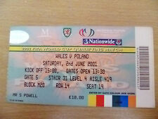 Tickets- FIFA World Cup 2002 Qualifier- WALES v POLAND, 2nd June 2001