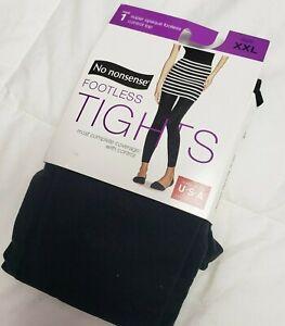 No Nonsense Women's Super Opaque Control Top Footless Tights, 1 Pair, Black, XXL
