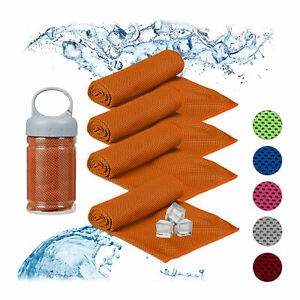 4 x Kühlendes Handtuch Mikrofaser, Kühltücher Hals, Kühlhandtuch Sport orange