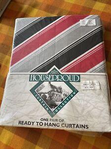 Vintage 1980s 90s New Geometric Retro Red Black Grey 46 X 54 Houseproud Curtains
