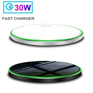 30W Qi Wireless Charger Charging Pad Stand For Apple iPhone 12 Pro 8 Samsung S21