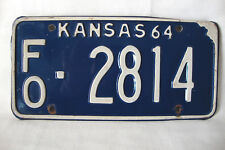 """Vintage 1964 Kansas Metal License Plate, """"FO-2814"""" Blue With White Lettering"""