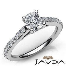 Prong Set Cushion Diamond Flawless Engagement Ring GIA I SI1 Platinum 950 0.97Ct