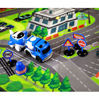 Urban Transport Play Mat Set Friction Powered Vehicles Police Cityscape Theme