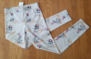 NEW Justice  * 14 *  gray skiing bunnies full length leggings pants  NWT