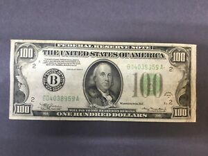 1934 $100 dollar Federal Reserve Note. Bank of New York.