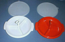 (2) TUPPERWARE Divided Serving Bowls #608 with Seals and Handles RED & WHITE