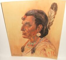ERNEST DONALD CHANDONET INDIAN CHIEF WITH FEATHER ORIGINAL WATERCOLOR PAINTING