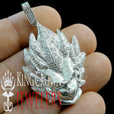 Real Diamond 10K White Gold Silver Dragon Ball Z Son Saiyan Goku Charm Pendant