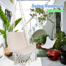White Hanging Woven Rope Swing Chair Macrame Hammock Seat Outdoor Indoor