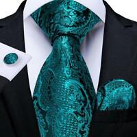 Teal Green Paisley Silk Tie Set Novelty Necktie Pocket Square Cufflinks Wedding