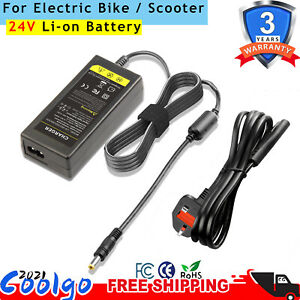 Electric Bike Ebike Scooters Battery Charger For 24V Li-on Lithium  Battery