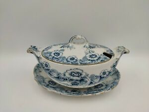 Antique 19th C English Pottery Blue/Green Transfer Ware Tureen