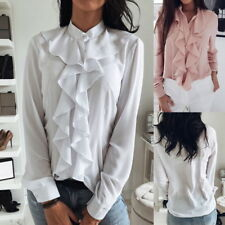 Damenhemd Langarm V Neck Hemd Kragen mit Lotus Ruesche Buero Bluse Business top