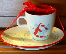 2007 Starbucks Holiday Cup & Snack Plate/Saucer Set Skiing Snowman & Penguin NEW