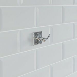 Bathroom Robe Hook Holder Chrome Square Wall Mounted Stylish Traditional