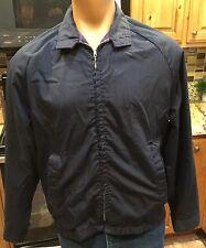 Vintage 1970s Blue Men's Light Zipup Jacket Montgomery Ward Sz Med/Lg Rockabilly