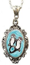 Otterly Love Cameo Necklace Pendant cute Animal heart By Alkemie & Artistry