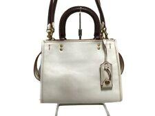 Auth COACH Rogue Bag 25 Glovetanned Pebbled Leather 54536 White Brown Handbag