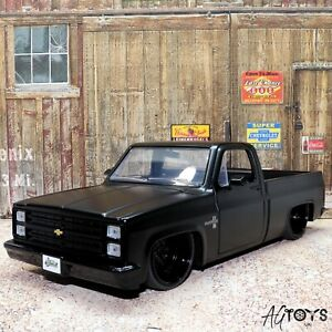 1985 Chevy C-10 Black 1:24 Scale Diecast Model Toy Car Jada Just Trucks Ages 8+