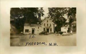 NEW HAMPSHIRE RPPC REAL PHOTO POSTCARD: POST OFFICE, FREEDOM, NH