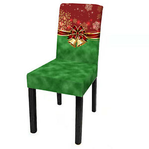 1/4x Christmas Chair Seat Cover Stretch Slipcovers Dining Xmas Party Home Decor