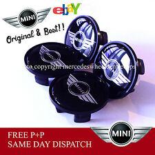 BMW Mini Cooper Tapones De Centro De Rueda Juego De 4 54mm Negro Mini Alas Logo Emblema