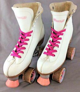 Vintage Pair Ladies Size 9 Chicago Quad Skates White & Pink